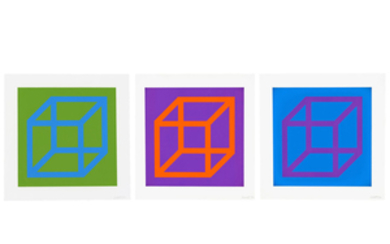 SOL LEWITT (1928-2007), Open Cube in Color on Color: three plates
