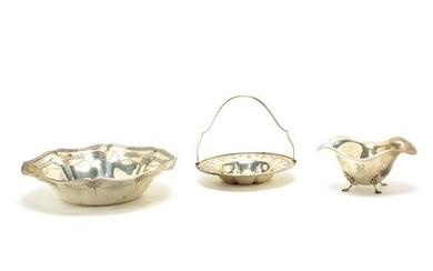 Sterling Silver Bowl, Basket, and Dish.