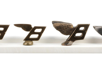 W. O. Bentley's personal collection of prototype castings of the post-1931 Bentley winged B mascot development process,