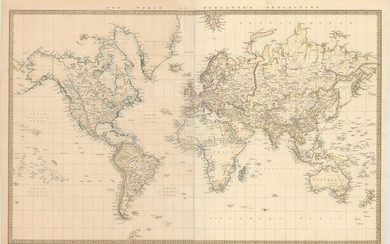 """""""The World on Mercator's Projection"""", SDUK Society for the Diffusion of Useful Knowledge"""