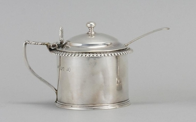 GEORGE IV STERLING SILVER MUSTARD POT AND GEORGE III SPOON 1) Mustard pot with cast leaftip rim, shell-form thumbpiece and period ru...