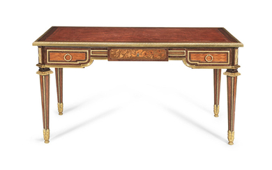 A French 19th century gilt bronze mounted amaranth, tulipwood, sycamore, marquetry and parquetry bureau plat