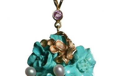 14K Gold, Turquoise, Pearl & Sapphire Pendant