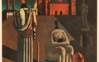 """1907/531: Giorgio de Chirico: """"Italiensk Kunst 1910-1935"""". Exhibition poster from Louisiana 1969. Lithographic poster in colours. Sheet size 85 x 53 cm. Unframed."""
