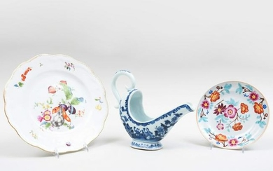 Chinese Export Porcelain Sauce Boat, a Plate, and a