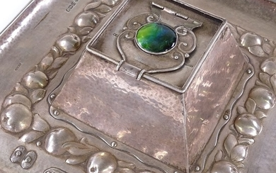 NEWLYN - a rare George V silver and enamel square inkwell de...
