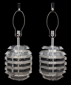 A Pair of Modern Lucite Lamps