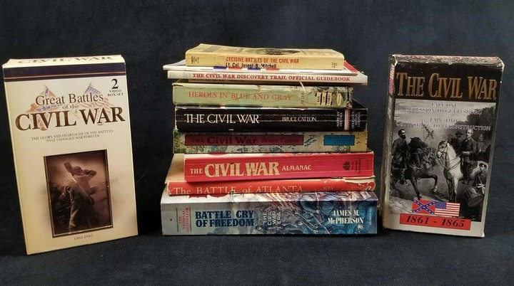 Civil War History Lot of 10 books and 2 VHS Box Sets