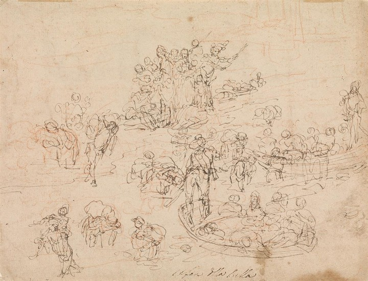 STEFANO DELLA BELLA (Florence 1610 1664 Florence) A Sheet of Studies with Figures in Boats and Carrying Sacks.