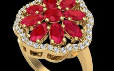 4 CTW Ruby & VS/SI Diamond Certified Cluster Designer