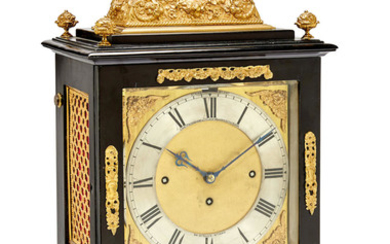 A good late 17th century style quarter chiming ebonized table clock