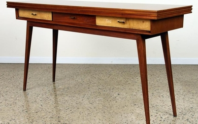 SATINWOOD FLIP TOP CONSOLE TABLE C.1960