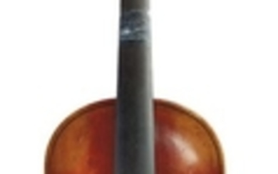 Saxon Violin - C. 1905, labeled JACOBUS STAINER…, length of two-piece back 359 mm, with case and bow.