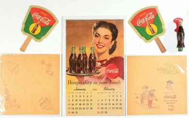 LOT OF 6: COCA-COLA HAND FANS, CALENDAR DOOR PULL &