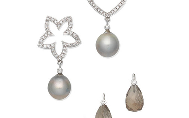 A pair of cultured pearl and diamond pendent earrings with interchangeable drops,