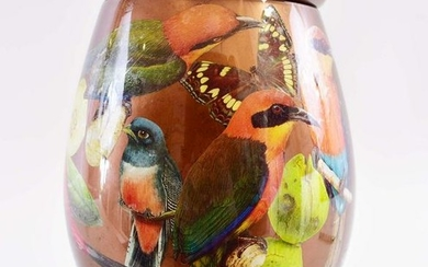 FAUX DECOUPAGE DECORATED COVERED URN/VASE