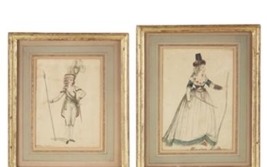 Pair of French fashion watercolors on paper, a gentleman...