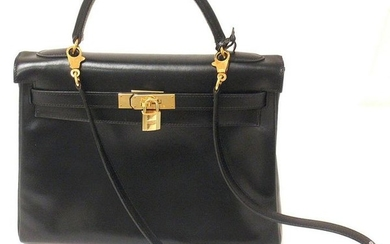 GREAT CONDITION HERMES 32CM BLACK BOX LEATHER SHOULDER