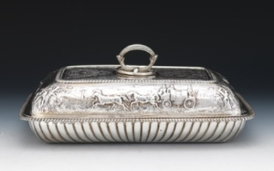 Rare George III Sterling Silver Entree Dish with Cover, Coaching Scene, by John Robins, London, dated 1801
