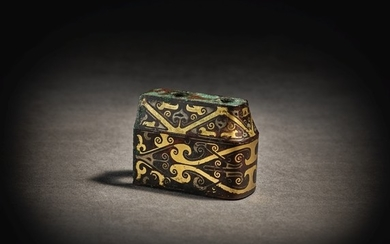 A RARE GOLD AND SILVER-INLAID BRONZE FITTING WARRING STATES PERIOD - HAN DYNASTY