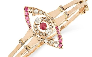 ANTIQUE RUBY AND DIAMOND BANGLE the marquise face is