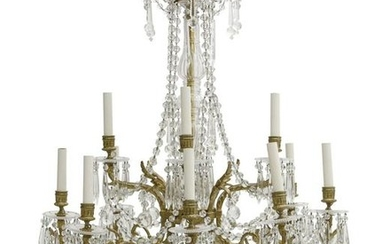 A Baccarat glass twelve light chandelier