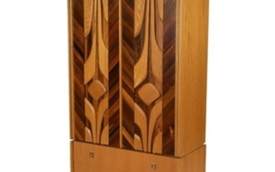 Brutalist Mixed Woods Armoire
