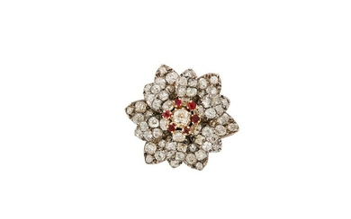 A late 19th century ruby and diamond flower brooch