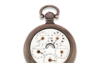 A silver key wind dual sided open face pocket watch with tidal and moon age indication