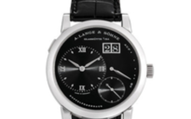 A. Lange & Söhne. A Platinum Wristwatch with Date and Power Reserve