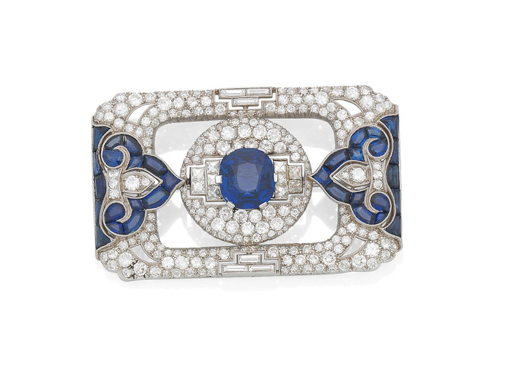 An Art Deco sapphire and diamond brooch and bracelet,