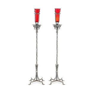 Lot Art Wrought Iron Floor Candle Holders