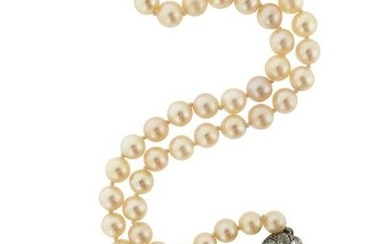 A single-row cultured pearl necklace, set with a...