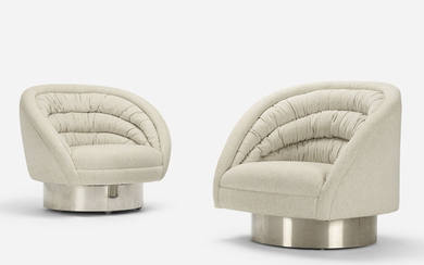 Vladimir Kagan, Crescent chairs, set of two