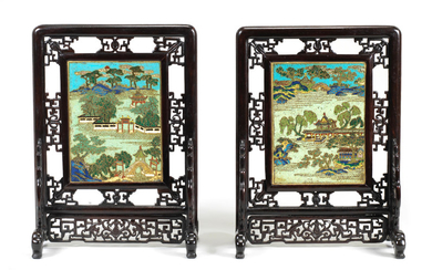 A fine pair of cloisonné-enamel double-sided table screens