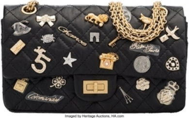 16033: Chanel Black Aged Quilted Lambskin Leather Lucky