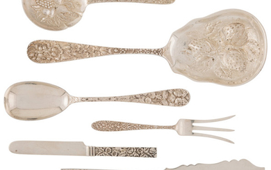 A Group of Twelve Repoussé Silver Flatware Pieces (late 19th-early )