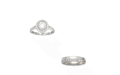 A diamond cluster ring and a diamond ring