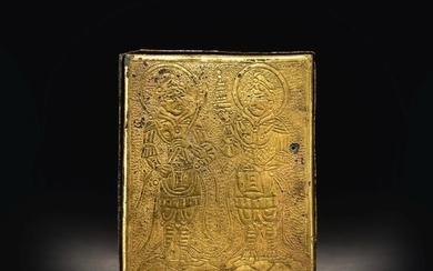 A VERY RARE GILT-METAL 'GUARDIAN KINGS' BOX AND COVER TANG / LIAO DYNASTY