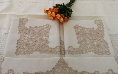 Handmade linen sheet in pure Cantù embroidery - Linen - AFTER 2000