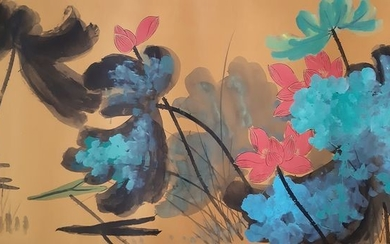 Ink painting - Chinese scroll painting on paper - in style of Zhang Daqian - China - Late 20th century