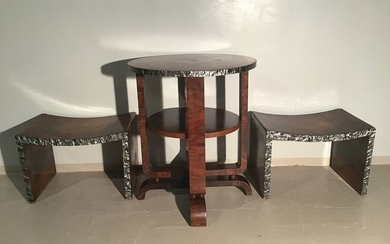 Bench, Seating group, Side table, Table