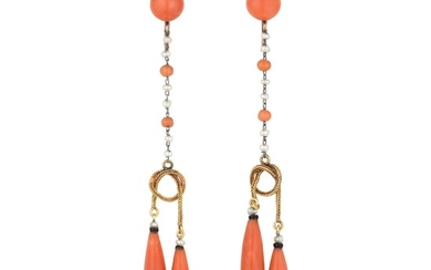 Antique - Antique Coral and Seed Pearl Drop Earrings