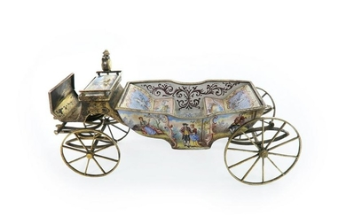 19th C. Large Viennese Enamel & Silver Carriage