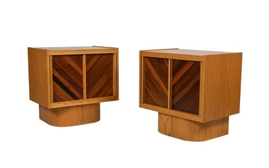 Brutalist Mixed Woods Night Stands