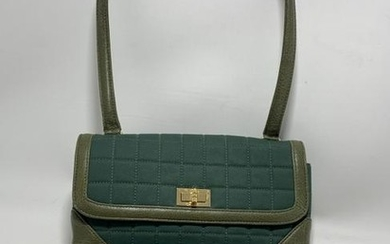 CHANEL EMERALD QUILTED CANVAS W/ OLIVE TRIM PURSE