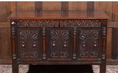 A Charles II carved oak chest, circa 1670