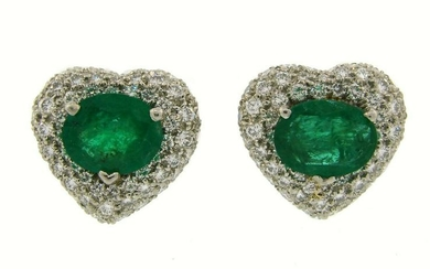 Chic EMERALD DIAMOND PLATINUM HEART-SHAPED EARRINGS