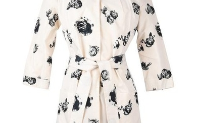 Christian Dior Dress / Coat Charcoal Flowers Belted