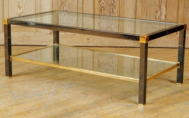 CHROME BRASS GLASS TOP COFFEE TABLE C.1970